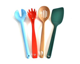 Melamine Kitchen Utensils Trudeau Spatula 2531 Hollinger Design, Spaghetti Claw, Ekco Taiwan Melamine Slotted Spoon Plastic