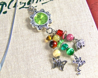 Stopped Watch Bookmark - Emerald Faced Watch Head / Silver Plated Pewter and Mixed Media Beads in Mauve, Green & Amber - Shepherds Hook