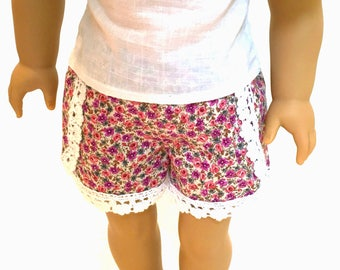 Small floral and lace dolphin shorts for 18 inch dolls