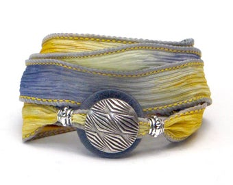 Abstract Lines. Whirly Wrap, Silk Wrap Bracelet, Butter Yellow, Smoky Gray, Tribal Abstract, easy off and on, Abstract Lines,  secure magnet