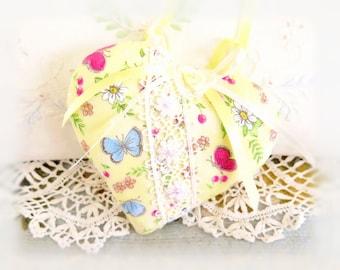 """Heart Ornament  Home Heart Pillow, 5"""" Door Hanger Butterflies Daisies Print, Handcrafted Handmade CharlotteStyle Handcrafted Folk Art"""