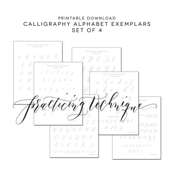 Printable set of calligraphy practice alphabets