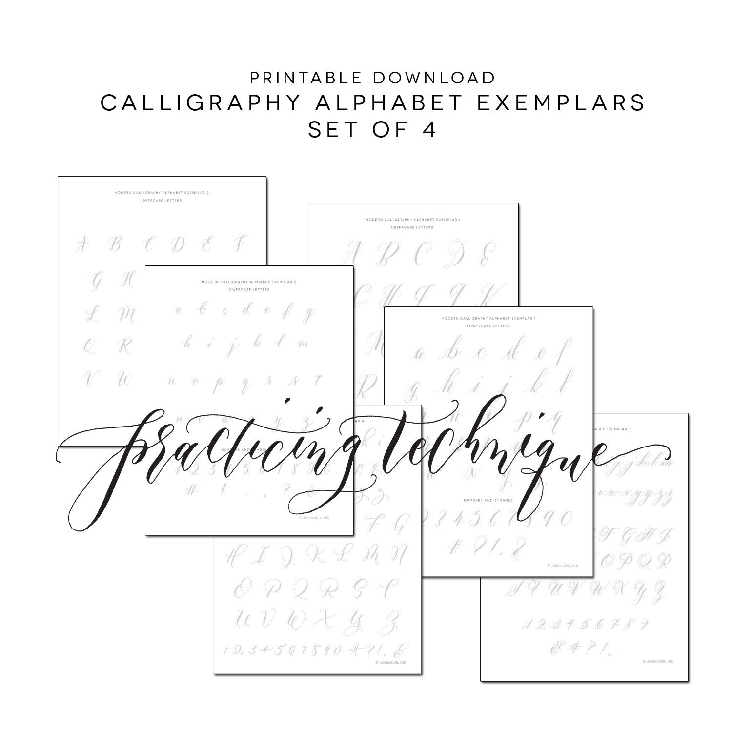Set of 4 calligraphy practice alphabet printable worksheets Calligraphy writing set