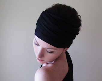 BLACK Jersey Head Scarf - Extra Wide Yoga Headband - Boho Hair Wrap - Bohemian Headscarf - Hair Accessories - Womens Hair Accessory