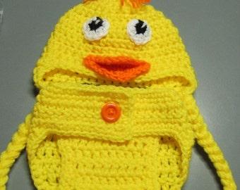 Newborn duck hat and diaper cover