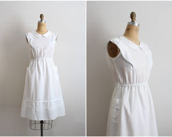 70's White Sheer Dress / Peter Pan Collar Dress /Semi Sheer White Dress /Lace Dress / Size XS/S
