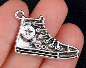 "6pcs-1.25"" silver Sport shoe charm- Antique silver running shoe charm"