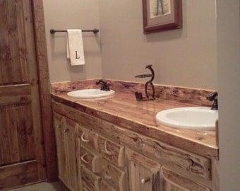 """Custom Rustic Cedar Bathroom Vanity 72"""""""