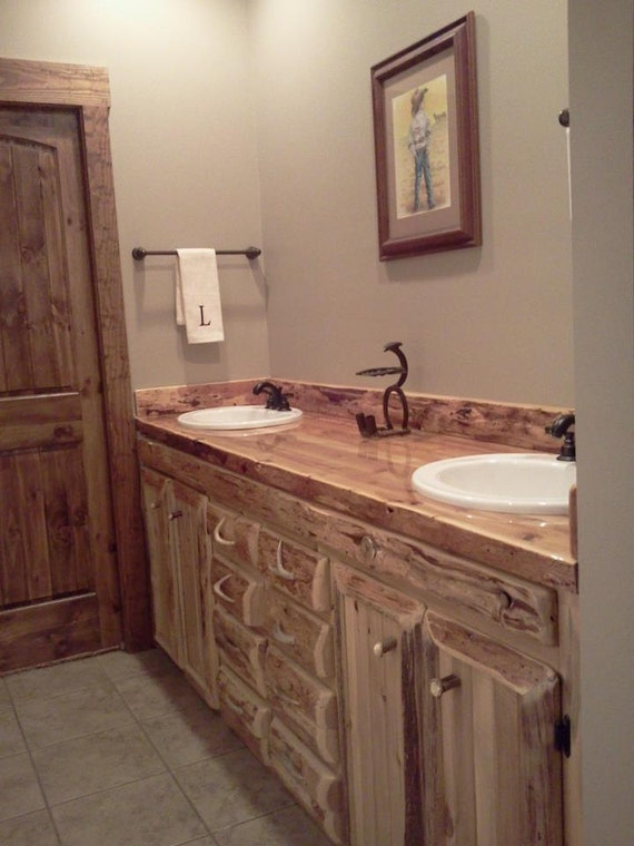 Custom rustic cedar bathroom vanity 72 for Custom double sink bathroom vanity