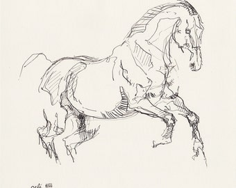 Original Ink and Pen Drawing of a Horse in Motion, Modern Art, Expressive Animal Art, Equine Art