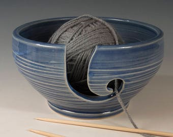 Yarn / Knitting Bowl - Sapphire Blue Translucent glaze with carved surface Stoneware by Seiz Pottery