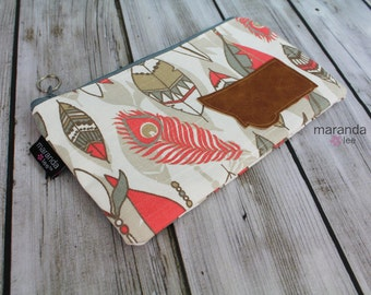 Medium Clutch- Feathers Coral with Montana Patch - READY to SHIP- Bridesmaid Clutch Gift  Pencil Zipper Pouch Makeup Clutch