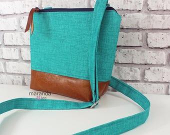BRI Messenger Bag  - Teal Denim  PU Leather -  Adjustable messenger Zipper Purse