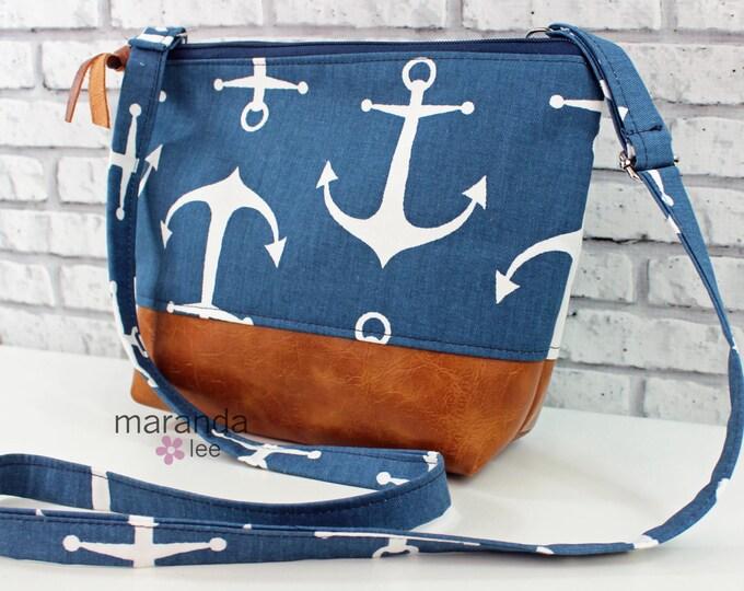 SALE BRI Large Messenger Bag - Anchors - READY to SHip  Adjustable messenger Zipper Purse Nautical