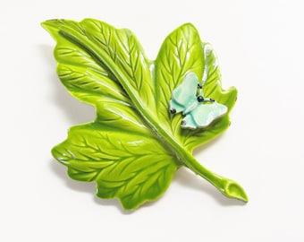 Vintage Blue Butterfly on Green Leaf Enameled Brooch