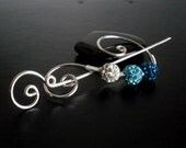 Blue Shawl Pin, Scarf Pin, Fibula, Brooch crystal pin, Silver pin, knitting accessories Wire brooch, Artisan Jewelry