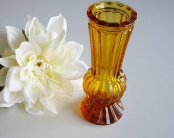 Vintage, Small Vase, Amber Glass, Ribbed, Short Vase, Heavy Vase, Paperweight Vase, Polished Base
