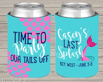 mermaid bachelorette party can coolers, beverage insulators for wedding bachelorette parties - party our tails off