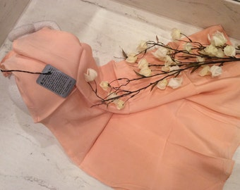 Beautiful Vintage Peach Silk Crepe Half Slip - New with Tags, Vintage Silk Lingerie