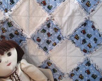 Baby Boy Quilt. Blue Trains Flannel Baby Rag Quilt. Fluffy Edge Baby Blanket. Baby Quilt. Car Seat Quilt. Stroller Quilt