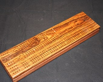 Cribbage Board, Black Walnut and Bocote with silver skunk markers, (CR0054)