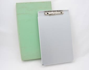Vintage 1980's Aluminum Form Holder Clipboard - Receipt Holder Storage - Memo Size - New In Box