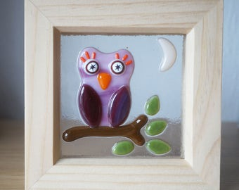 Small Fused Glass Framed Picture - Owl on a Branch - 12cm