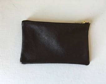 Leather Pouch - Repurposed Dark Brown Leather with Zipper