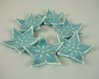 6 Ceramic Spoon / Chopsticks rests, Star Shaped, Aqua Blue