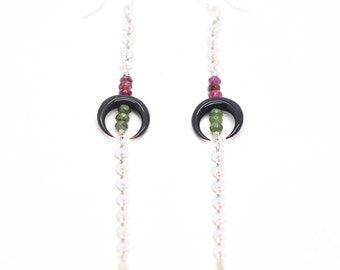 Black Naja & Watermelon Tourmaline Earrings - Sterling Silver, Watermelon Tourmaline, Fine Gypsy Goddess, Bohemian, Handmade Crystal Stone,