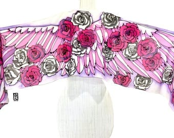 Bird Scarf, Wing Scarf, Boho Fashion Scarf, Handpainted Scarf Pink Silk, ETSY, Pink and Black, Wing and Roses Silk Scarf, Takuyo, 14x72 inch