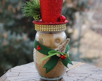 Owl Mason Jar Candle Pumpkin Spice or Hot Buttered Rum