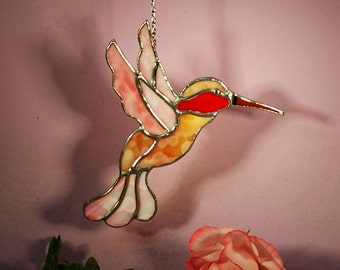 Suncatcher Stained Glass Hummingbird with Ruby Throat  (778)