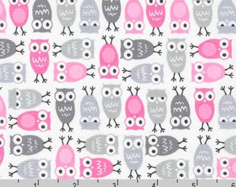 Urban Zoologie Minis - Owls Pink Gray by Ann Kelle from Robert Kaufman
