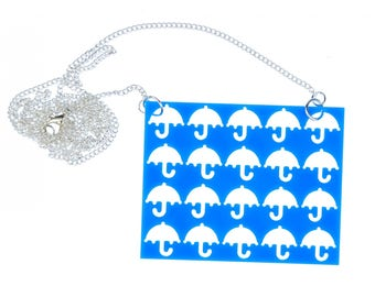 Laser cut plate umbrella Necklace Miniblings 80cm template Blue