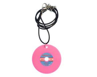 Record Necklace Miniblings leather 45cm DJ LP vinyl neon purple pink XL
