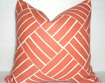 Peach Coral Geometric Lines Upholstery Pillow Cover Throw Pillow Cover Living Room Decor Size 18x18