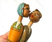 Vintage Kissing Couple Wooden Bottle Stopper, Anri, Mechanical Action, Carved Wood, Hand painted, Wine Bottle Cork, Excellent