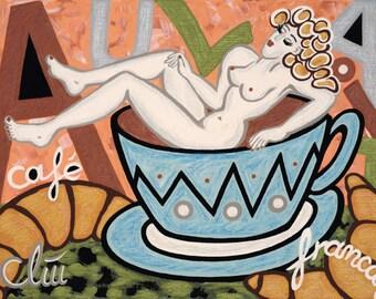 """Jacqueline Ditt - """"Café Au Lait"""" print after a painting"""
