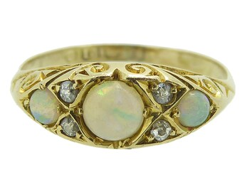 Vintage Victorian Opal & Diamond Ring