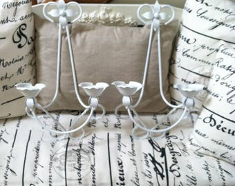 White metal sconces vintage double arm metal sconces wall candle holders rose metal sconces shabby nursery farmhouse vintage twisted metal.