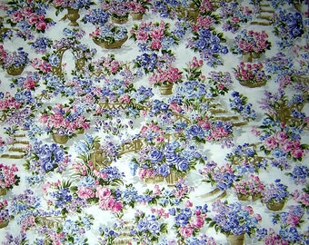 """5 Yards Pink and Blue Floral 100% cotton quilting fabric - 45"""" wide"""