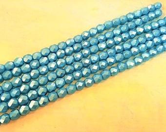 6mm Blue Aqua Silky Coat Firepolish Glass, 6mm Faceted Satin Aqua Glass, 6mm Faceted Aqua Glass, 6mm Aqua Firepolish, Ocean Blue Aqua