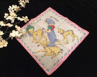 Vintage Collectible Nursery Rhyme Little Bo Peep Children's  Handkerchief, Vintage Child Hankie, Vintage Little Girl and Sheep Handkerchief