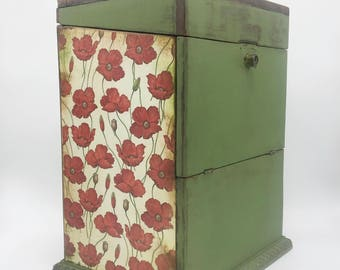 Large wooden box, decoupaged box, antique wood box, decorative wood box, rustic chic, poppy flowers, olive green