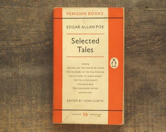 Vintage Edgar Allan Poe book Selected Tales includes The Gold - Bug, The Fall of the House of Usher and The Duc de L'Omelette