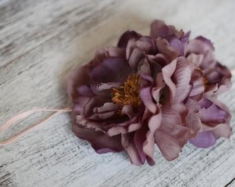 Purple Floral Headband, Big floral Headband