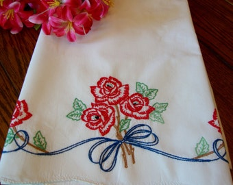 Embroidered Roses Pillowcase Vintage Single Pillow Case Red Roses Bed Linens