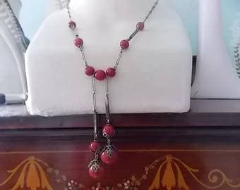 Vintage Art Deco  Red Chrome Necklace  - LOVELY