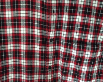 Red White Black Check Cotton Flannel Shirt Small